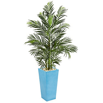 5' Areca Palm Artificial Tree in Turquoise Planter NEARLY NATURAL