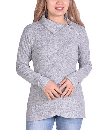 Petite Zippered High-Neck Pullover Top NY Collection