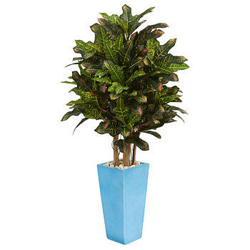 4' Croton Artificial Plant in Turquoise Planter NEARLY NATURAL