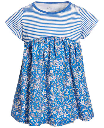 Toddler Girls Striped Floral Cotton Tunic, Created for Macy's First Impressions