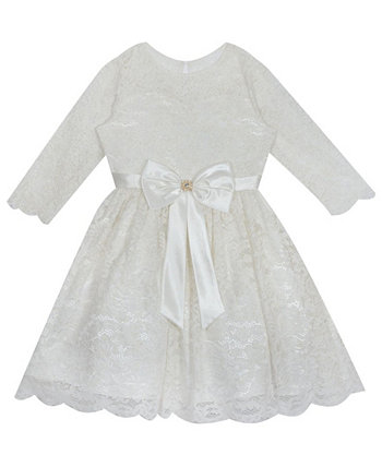 Little Girl Glitter Lace Dress With Satin Bow Rare Editions