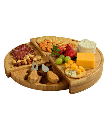 Florence Multilevel Transforming Bamboo Cheese Board with Tools Picnic At Ascot