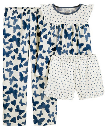 Big Girls 3 Piece Butterfly Loose Fit Pajama Set Carters