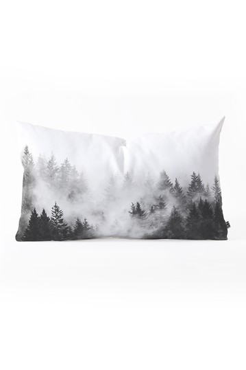 Nature Magick Foggy Trees Black and White Oblong Throw Pillow Deny Designs