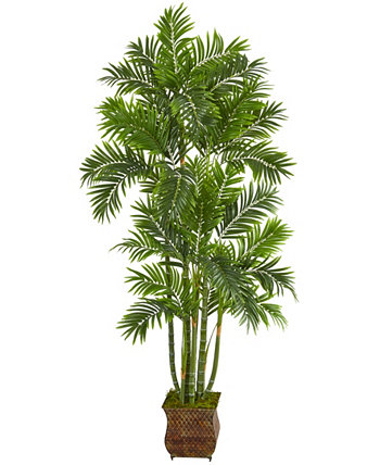 70in. Areca Palm Artificial Tree in Metal Planter NEARLY NATURAL