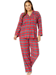 Plus Brushed Twill Long Sleeve Notch Collar Long Pants Pajama Set Ralph Lauren