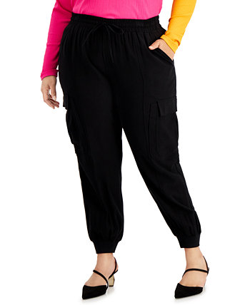 INC Plus Size Utility Satin Jogger Pants, Created for Macy's INC International Concepts