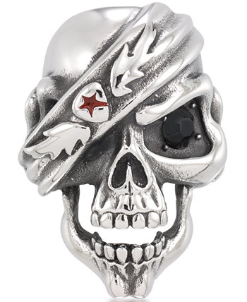 Men's Black Cubic Zirconia & Red Enamel Pirate Skull Ring in Stainless Steel Andrew Charles by Andy Hilfiger