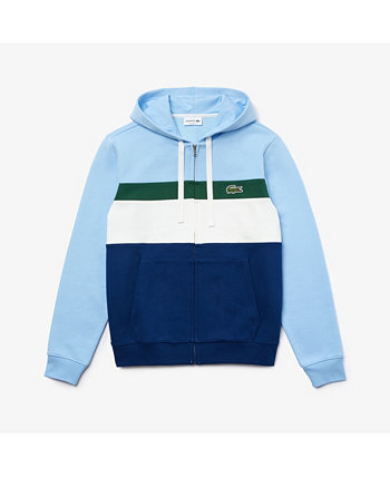 Men's Classic Fit Long Sleeve Full-Zip Colorblocked Striped Hoodie Lacoste