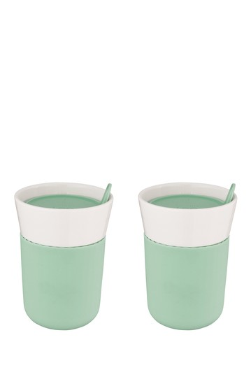Leo Green Porcelain Travel Mug - Set of 2 BergHOFF