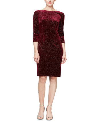 Velvet-Burnout 3/4-Sleeve Sheath Dress SL Fashions