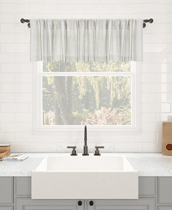 """Retro Stripe Dust Resistant Sheer Cafe Curtain Valance, 50"""" x 14"""" Clean Window"""