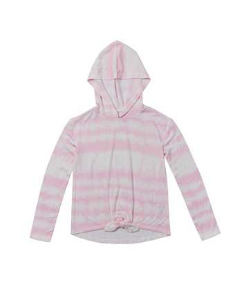 Big Girls Long Sleeve Tie Front Hooded Snit Top Epic Threads