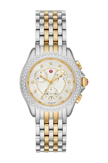 Women's Belmore Chronoraph Diamond Embellished Bracelet Watch, 37mm - 0.34 ctw Michele