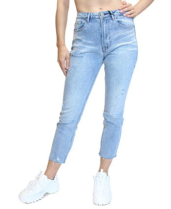 Juniors' High-Rise Raw-Hem Mom Jeans Almost Famous