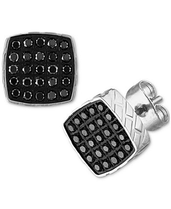 Black Diamond Earrings (1/4 ct. t.w.) in Stainless Steel, Created for Macy's Esquire Men's Jewelry