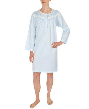 Embroidered Brushed-Back Satin Nightgown Miss Elaine