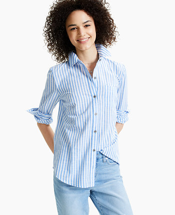 Petite Striped Boyfriend Shirt, Created for Macy's Style & Co