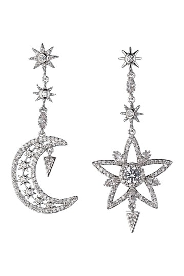 Star and Moon CZ Crystal Drop Earrings Eye Candy Los Angeles