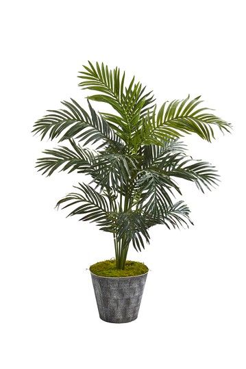 52in. Paradise Palm Artificial Tree in Black Embossed Tin Planter NEARLY NATURAL