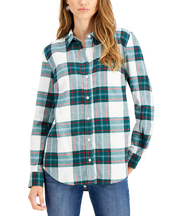 Petite Cotton Flannel Shirt, Created for Macy's Style & Co