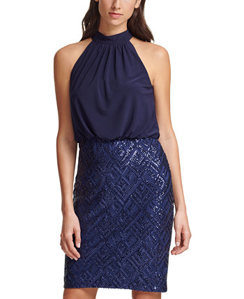 Embellished Blouson Bodycon Dress Vince Camuto