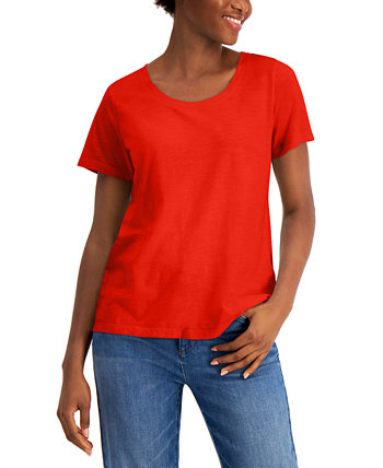 Scoop-Neck Organic Cotton T-Shirt Eileen Fisher