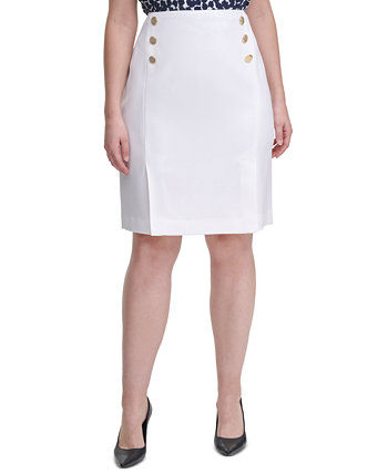 Plus Size Side-Button Pencil Skirt Calvin Klein