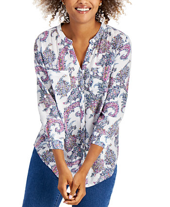 Printed Split-Neck Shirt, Created for Macy's Charter Club