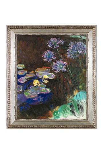 """Water Lilies & Agapanthus with Versailles Silver King Frame , 26"""" x 30"""" No brands"""