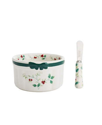 Winterberry Bowl Dip Mix Set with Spreader Pfaltzgraff