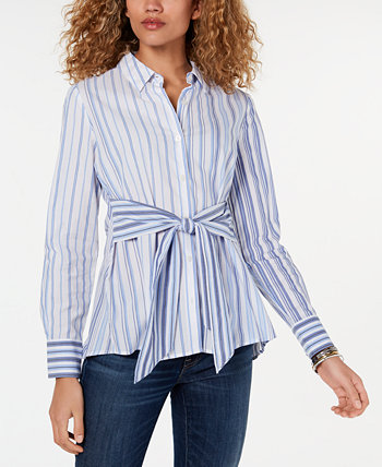 Tie-Waist Button-Down Tunic Top, Created for Macy's Tommy Hilfiger