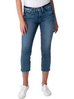 Suki Mid-Rise Power Stretch Straight Crop Jeans L43980EPX331 Silver Jeans Co.