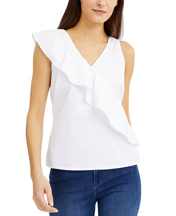 INC Poplin Ruffle Top, созданный для Macy's INC International Concepts