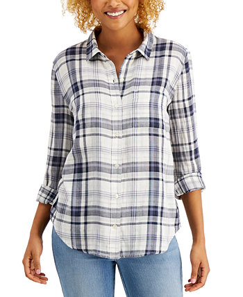 Cotton Plaid Button-Down Shirt, Created for Macy's Style & Co
