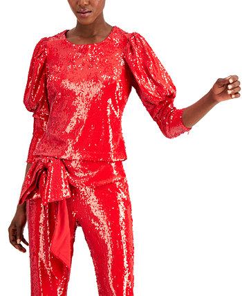 INC Sequin Puff-Sleeve Top, Created for Macy's INC International Concepts