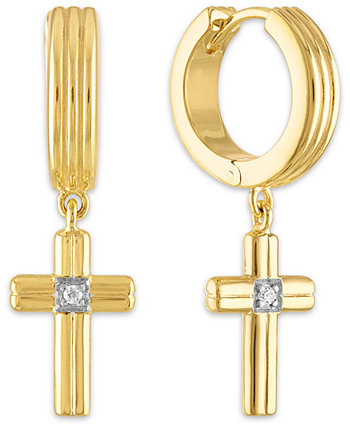 Diamond Accent Cross Drop Hoop Earrings in 14k Gold-Plated Sterling Silver, Created for Macy's Esquire Men's Jewelry