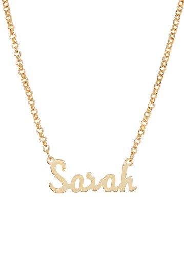 18K Yellow Gold Plated Sterling Silver 'Sarah' Name Pendant Necklace Argento Vivo