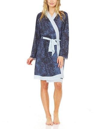 Women's Hacci Cozy Robe with Contrast Chiffon Detail Laundry by Shelli Segal
