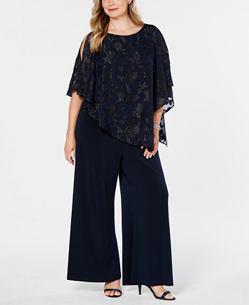 Plus Size Asymmetrical Overlay Jumpsuit Connected