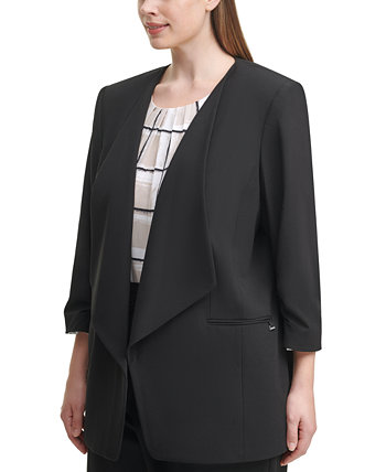 Plus Size 3/4-Sleeve Open-Front Jacket Calvin Klein