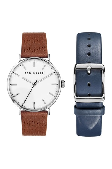 Men's Mimosa 3-Hand Leather Strap Box Set, 41mm Ted Baker