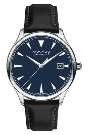 Men's Heritage Trend Leather Strap Watch, 40mm Movado