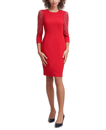 Petite Embellished-Sleeve Sheath Dress Calvin Klein