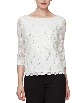 Sequinned Lace Cowl-Back Top Alex Evenings