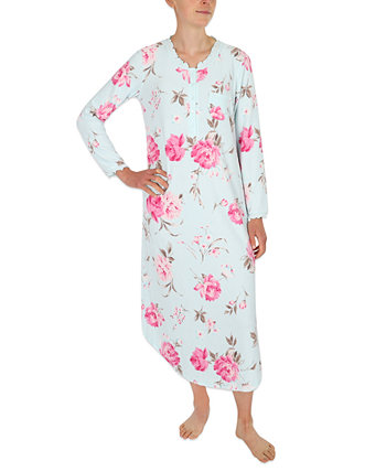 Printed Brushed Waffle Long Nightgown Miss Elaine