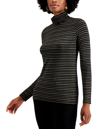 Petite Metallic-Striped Turtleneck, Created for Macy's Style & Co