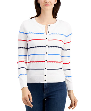 Petite Textural-Striped Cardigan Sweater, Created for Macy's Charter Club