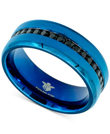 Men's Black Cubic Zirconia Band in Blue Ion-Plated Stainless Steel Macy's