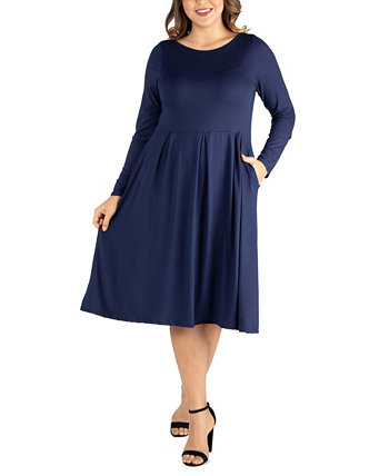 Women's Plus Size Fit and Flare Midi Dress 24seven Comfort Apparel